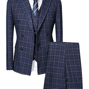 Other - Mens Blue Slim Fit 3 Piece Checked Suits